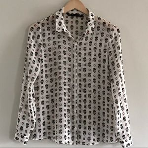 ZARA // skull button down blouse